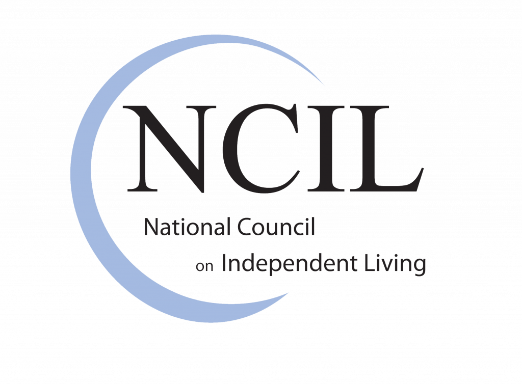 A light blue semi-circle around NCIL and National Council of Independent Living.
